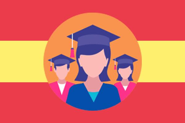 Executive MBA en España - Bandera de españa con figuras de graduados en el centro