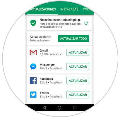 Executive MBA en España - pantalla de movil para actualizar apps