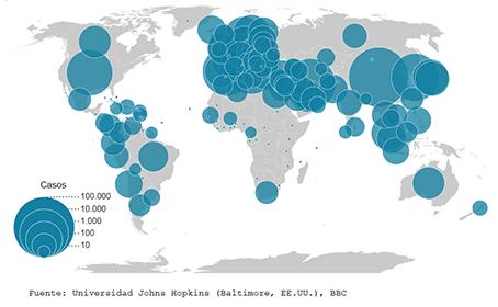 Mapa mundial de los infectados por el coronavirus