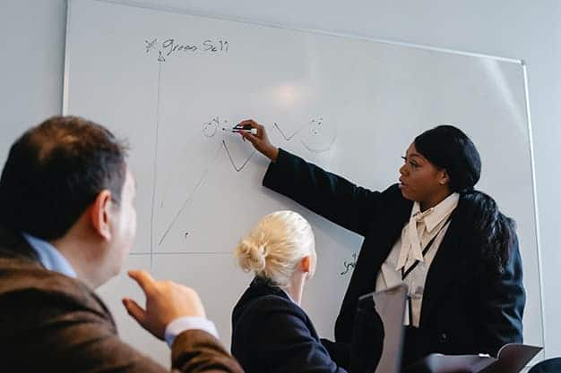 Se observa una mujer dirigiendo una reunión, escribiendo en una pizarra. Entre los pasos y requisitos para crear una empresa está la creación del Plan de Recursos Humanos, que permitirá determinar la parte humana de la empresa y quiénes la formen. Saber los pasos y requisitos para crear una empresa es vital.