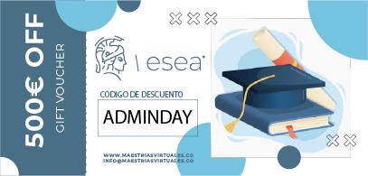 En la imagen vemos un cupón de descuento del día internacional del Administrador de Empresas. ESEA es tu mejor herramienta para continuar con tu formación, por eso, te ofrece un gran descuento por el día internacional del Administrador de Empresas.